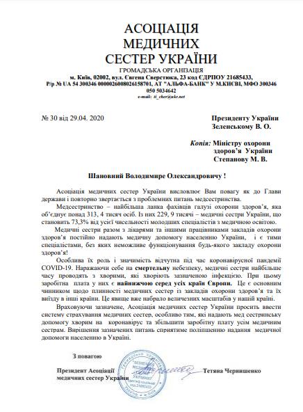 Звернення асоціації медичних сестер України до Президента України Володимира Зеленського